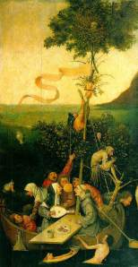 """Ship of Fools"" - By Hieronymus Bosch, depicting a jester in painting very rich in symbolism."