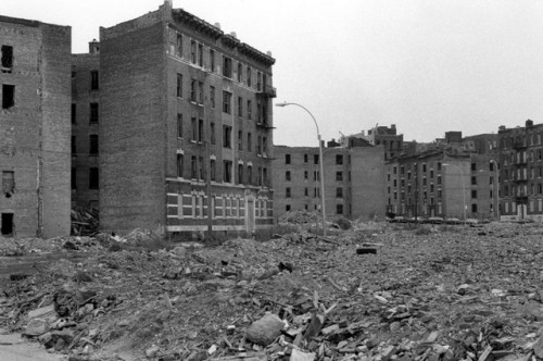 The South Bronx in the 1970s. Drug abuse was a big contributor to the extreme urban decay of the South Bronx during this period. Drugs and crime are still a problem here. Photo by Mel Rosenthal, Duke University