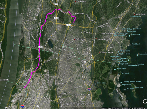 The magenta line was my journey, from north to south and back.