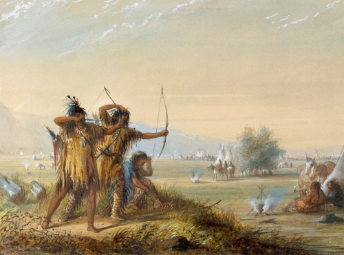 Alfred_Jacob_Miller_-_Snake_Indians_-_Testing_Bows_-_Walters_37194060