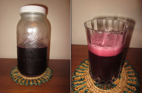 The finished product! It was very fizzy, and it does have a mild alcoholic taste with some sourness and a little bit of sweetness(not as sweet as I had anticipated). I refrigerated it for a day before I drank it this morning. I removed the lid with the airlock and put the regular plastic lid back on before putting it in the refrigerator.