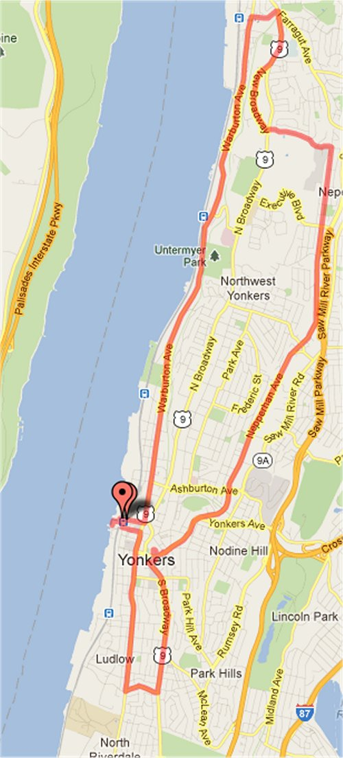Course of the Yonkers marathon. It's a double loop course.