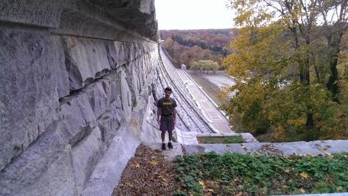 In Valhalla after run. The Kensico Dam is behind me.